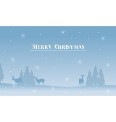 Merry christmas deer and spruce silhouettes vector