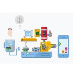 Mobile App Development Production Plant Flat vector