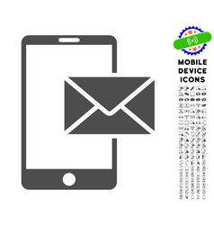mobile mail icon with set vector image