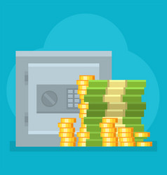 Money safe deposit commercial strongbox vector