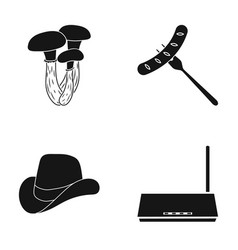 mushrooms sausage and other web icon in black vector image