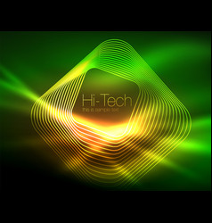 neon glowing outline squares in dark vector image