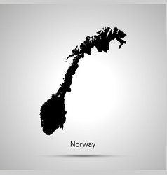 norway country map simple black silhouette vector image