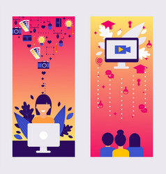 online streaming character woman work laptop vector image