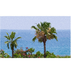 Palm trees and blue see pointillism style vector