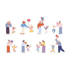 parents congratulations kids birthday family vector image