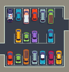 parking top view many cars on parking zone vector image