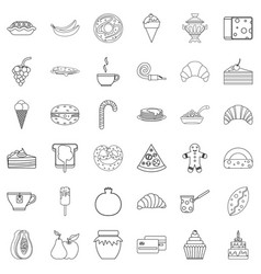 pastry shop icons set outline style vector image
