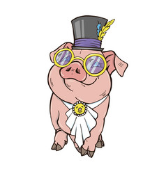 Pig girl is a fashionista vector