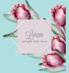 pink tulip flowers on blue background card vector image