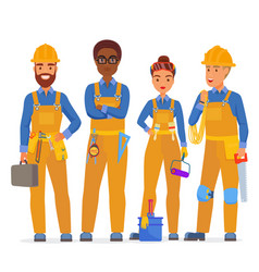 Professional construction workers specialists vector