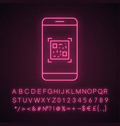 Qr code scanning smartphone app neon light icon vector