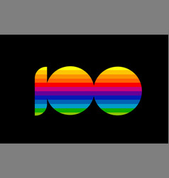 rainbow color colored colorful number 100 logo vector image