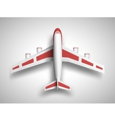 Red airplane top view vector