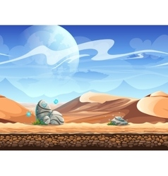 Seamless desert with stones and spaceships vector
