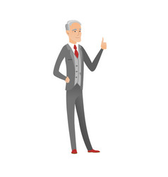 senior caucasian businessman giving thumb up vector image
