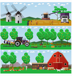 Set farming concept design elements vector