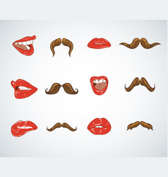 set lady lips and gentleman mustaches vintage vector image