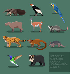 Set of flat geometric south america animals vector