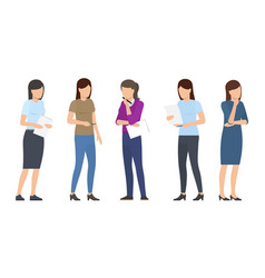 set of women discuss business plan teamwork ladies vector image