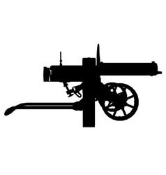 Silhouette an ancient maxim machine gun vector