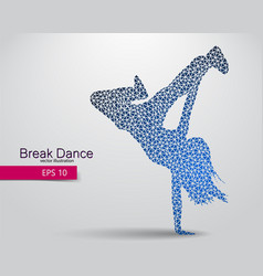 silhouette of a break dancer from triangles vector image