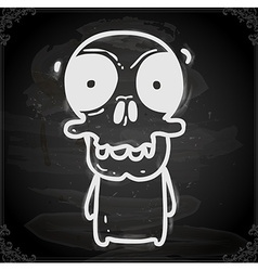 Skeleton Drawing on Chalk Board vector image