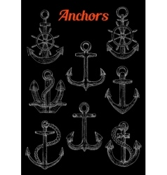 sketch admiralty anchors with rope and wheel vector image