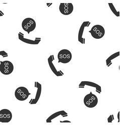 sos call icon seamless pattern on white background vector image