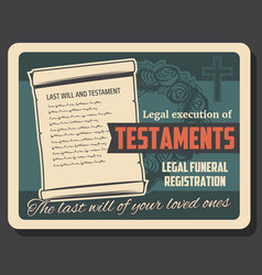 testament execution and funeral service vector image