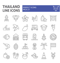 thailand thin line icon set thai symbols vector image