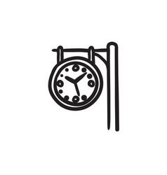 Train station clock sketch icon vector
