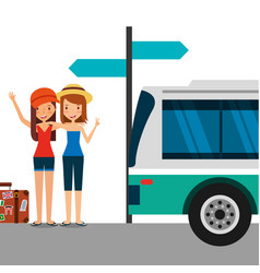 Two cute girls tourists with suitcase in the bus vector