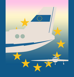 Vertical banner with image an airplane tail vector