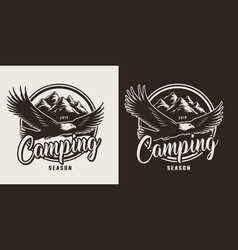 vintage monochrome camping logo vector image