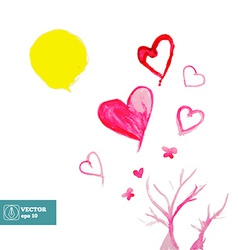 Watercolor paint Sun Tree and Hearts vector