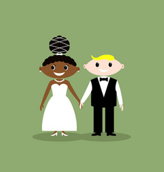 Wedding couple african american bride vector