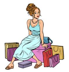 Woman shopping beautiful young buyer vector