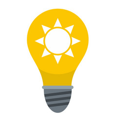 Yellow light bulb with sun inside icon isolated vector