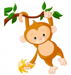 baby monkey on a tree vector image vector image