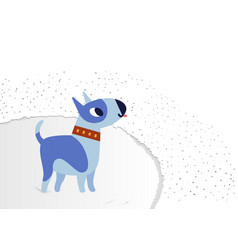 blue cheerful dog breed bull terrier on a fluffy vector image vector image