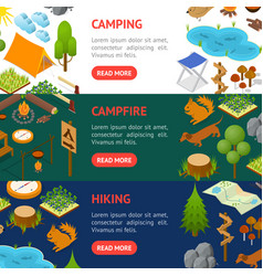 camping banner horizontal set isometric view vector image vector image