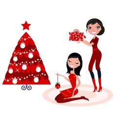 christmas party - girls preparing christmas tree vector image vector image