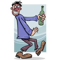 drunk guy with bottle cartoon vector image