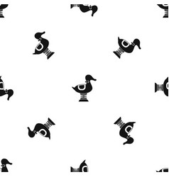 duck spring see saw pattern seamless black vector image vector image