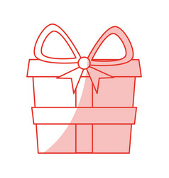 red shading silhouette of gift box vector image vector image