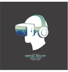 virtual reality headset icon flat icon city vector image vector image