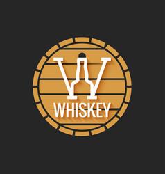 whiskey barrel logo design on black background vector image
