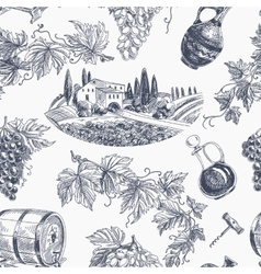 wine retro seamless pattern vector image