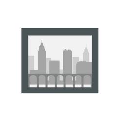 City silhouette in dark frame isolated on white vector